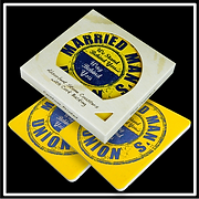 Two Custom Printed Coasters Packaged in Two Coaster Window Box