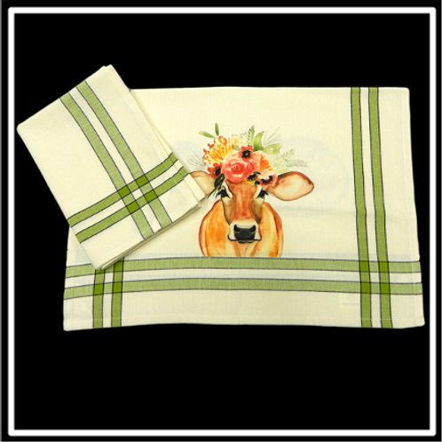"Lime/Black Double Stripe Kitchen Towel - 20""x28"""
