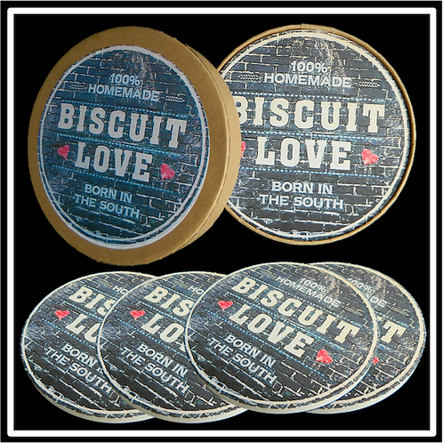 Coaster Gift Boxes with Custom Label Applied to Lid