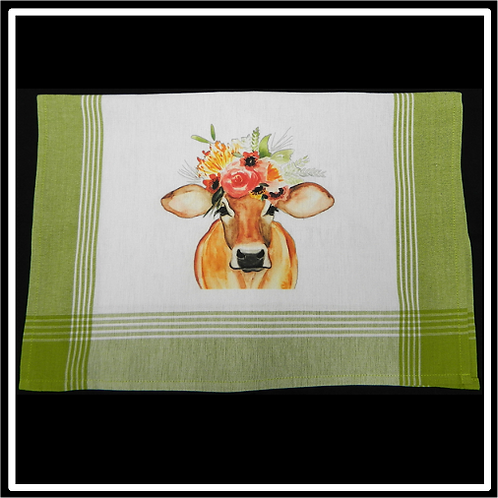 Lime Plaid White Background Kitchen Towel