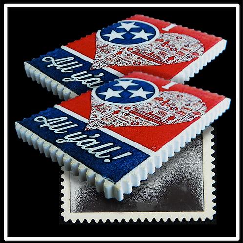 Postage Stamp Edge Stone Magnet