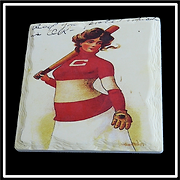 "CC-19 Custom Printed Square Layered Edge Absorbent Stone Coaster with Cork Backing     4.25"" x 4.25 ""x .25"""