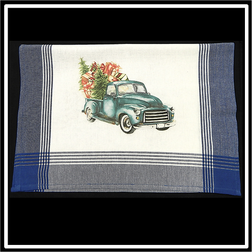 Blue Plaid White Background Kitchen Towel