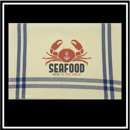 "Blue/Black Double Stripe Kitchen Towel - 20""x28"""