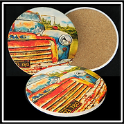 "CP-10 Custom Printed Round Absorbent Stone Coaster with Cork Backing     4.25"" Diameter x .25"""