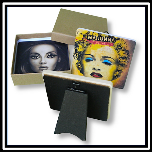 Two Coaster/Easel Sets in Plain Kraft Gift Box