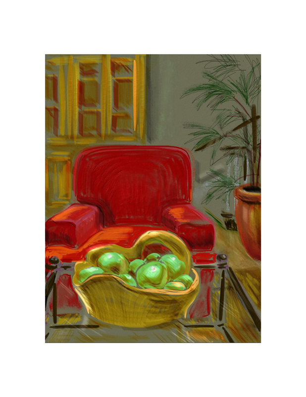Green Apples, Red Chair