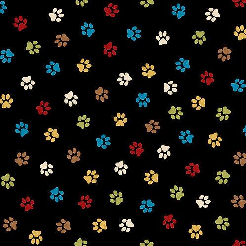 Paw Prints on Black