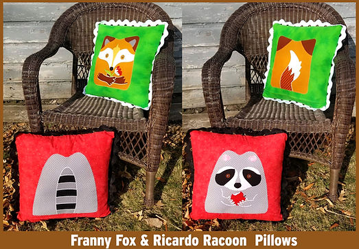 Franny Fox and Ricardo Racoon Pillows  c