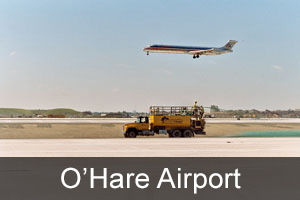 plane at o'hare airport flying over Countryside Landscape truck