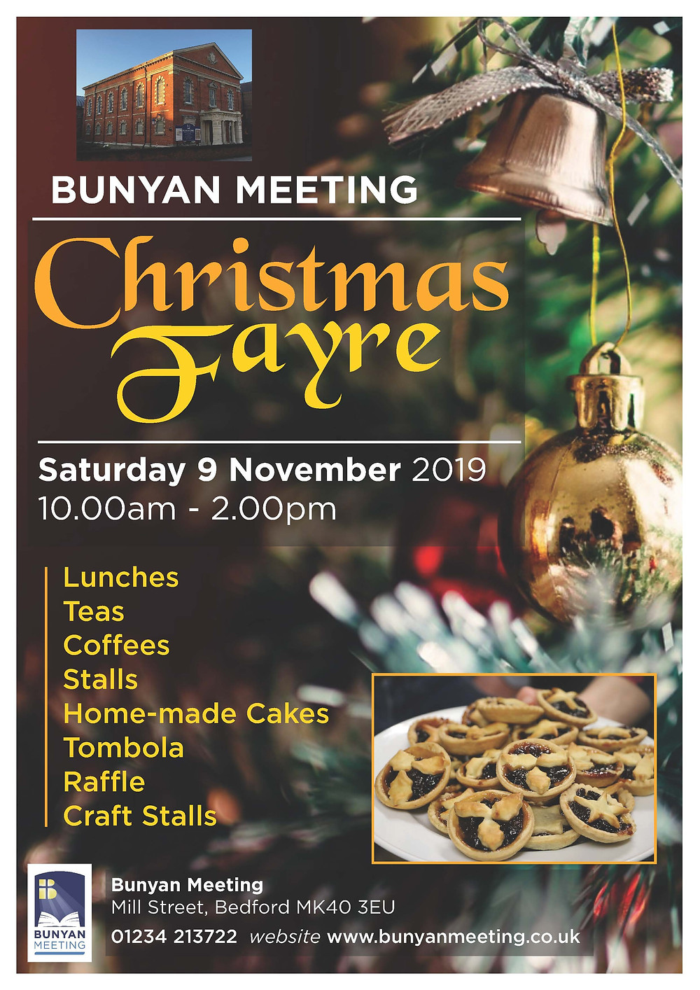 Start Christmas early and come to the Christmas Fayre at Bunyan Meeting.  Starts 10.00am