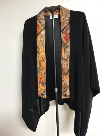 Black silk satin back crêpe