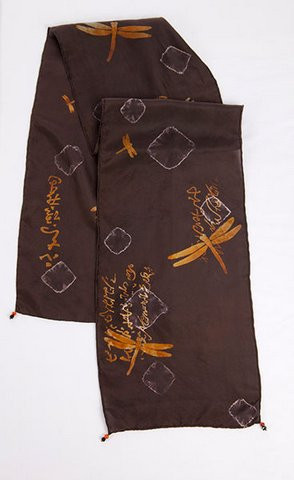 Black hand dyed silk scarf
