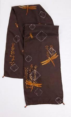 Black hand dyed silk scarf