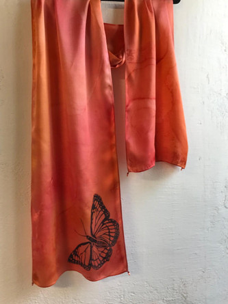 Detail of butterfly silk charmeuse
