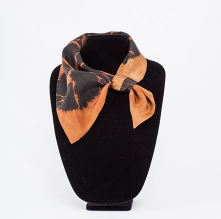 Small hand dyed black silk scarf