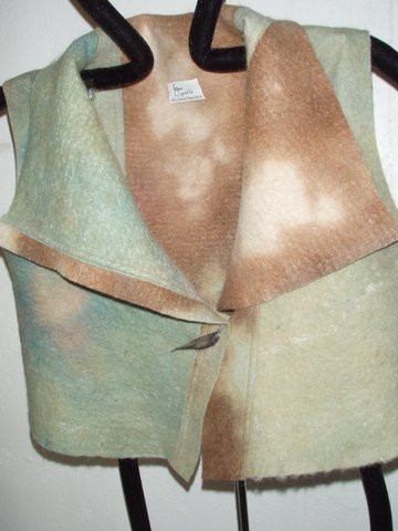Hand dyed felted wool vest