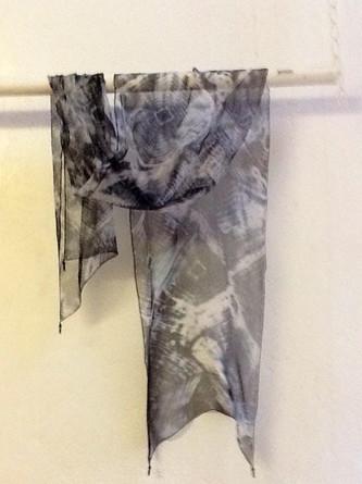 Hand dyed black silk chiffon scarf