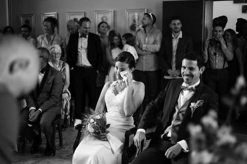 les larmes de la marié lors des consentements