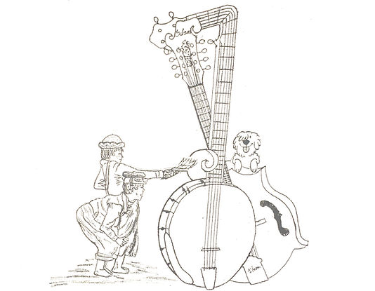 This banjo drawing intertwines family, job, community and music.