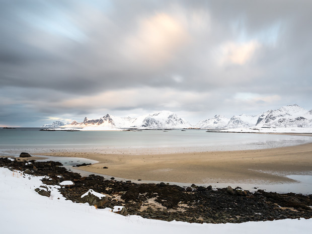 A snow covered Fredvang beach in the Lofoten Islands (DSC_2390)