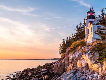 Golden hour at Bass Harbor lighthouse on the coast of Acadia National Park, Maine (DSC_8438)