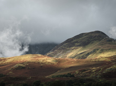 A patch of sunlight falls on the fells above Buttermere, the Lake District (SWP03453)