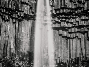 A black and white long exposure of Svartifoss waterfall, Iceland (DSC_4400)