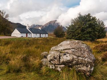 Black Rock Cottage in Glencoe under cloudy autumnal skies (SWP_1628)