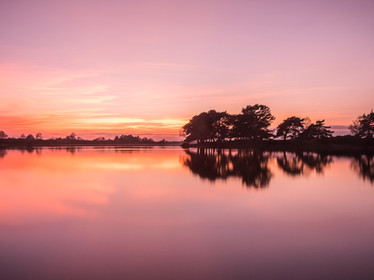A colourful sunset over Hatchet Pond near Beaulieu in the New Forest (SWP03786)