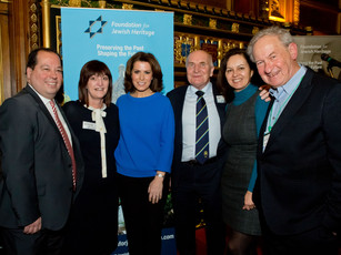 Simon Schama and Natasha Kaplinsky at Synagogue Mapping Launch in UK Parliament