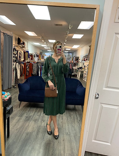 Suede pleated dress