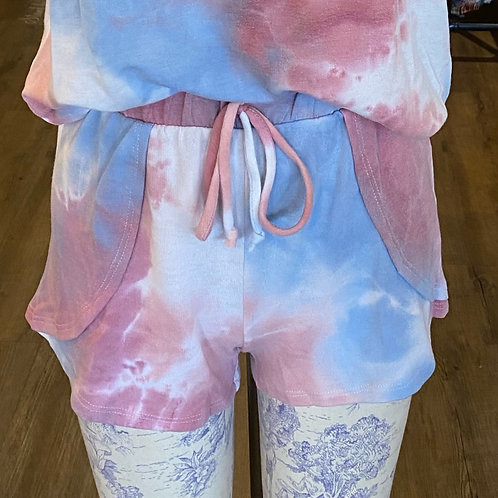 Tie dye  blue and pink shorts