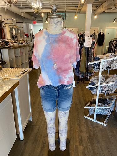 Tie dye blue and pink top