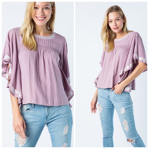 Lilac peasant blouse