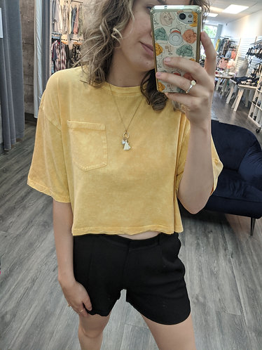 Mineral Wash Cropped T-shirt - yellow