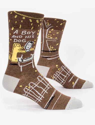 """A boy and his dog"" Blue Q men's socks"