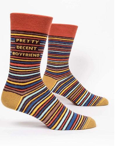 """""""Pretty decent boyfriend"""" Blue Q men's socks"""