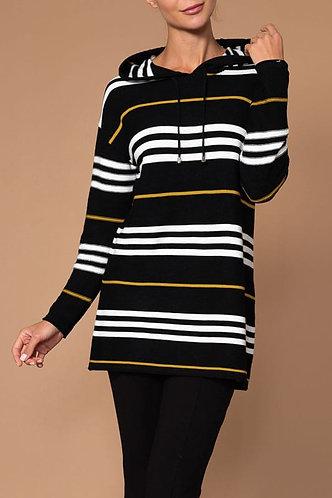 Elena Wang Striped Hooded Sweater