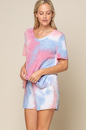 Tie dye Pajamas - pastel pink & blue