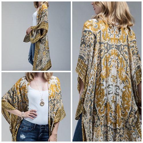Mustard/grey kimono one size