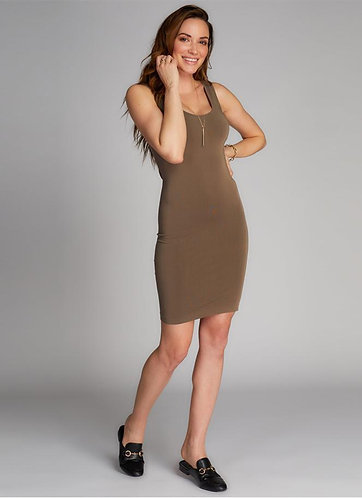 Khaki Thick Strap Bamboo Tank Top Dress
