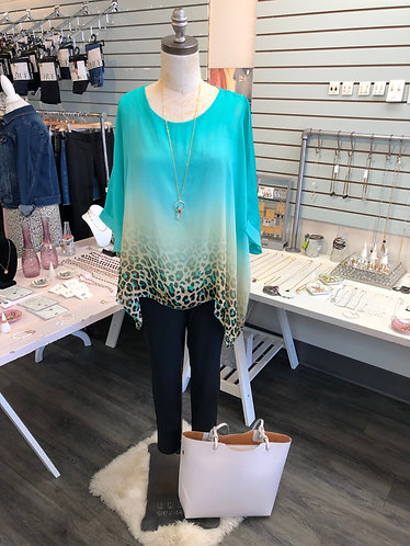 Turquoise Animal Print Ombre Top