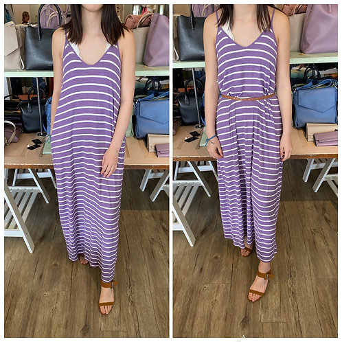 Striped maxi dress with adjustable straps-more colours available.
