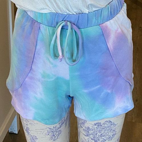 Tie dye mint and purple shorts