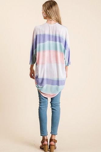Pastel cardigan w/ blue, pink, purple