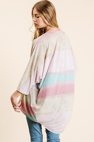 Pastel cardigan w/ Blue, pink, beige