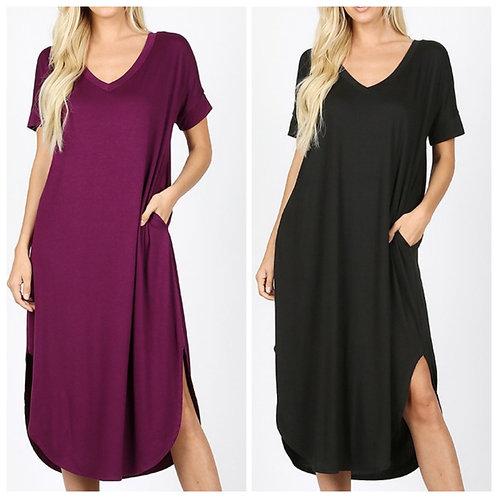 V neck maxi dress