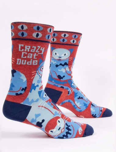 """Crazy cat dude"" Blue Q men's socks"