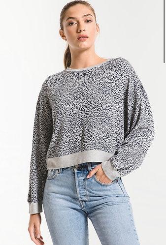Grey leopard print sweater